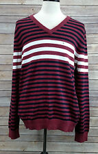 Men's EXPRESS Mixed Striped Cotton V-Neck Sweater in Harvard Red Sz XL NWT $70