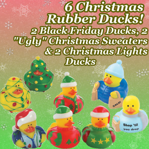 Rubber Ducks Christmas SET OF 6! Black Friday, Christmas Lights & Ugly Sweaters