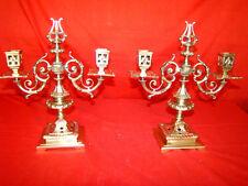 paire de bougeoirs doubles en bronze massif  style Renaissance, époque 19éme