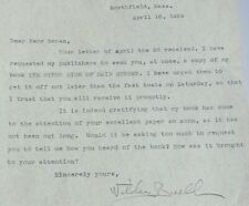 Author Katharine Buell Wilde: Typed & Signed Letter Northfield, Mass 1929