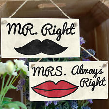 Pair: Mr Right & Mrs Always Right Moustache Lips Signs Fun Wedding Decor Props