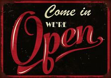 we're open (black/red) metal wall sign