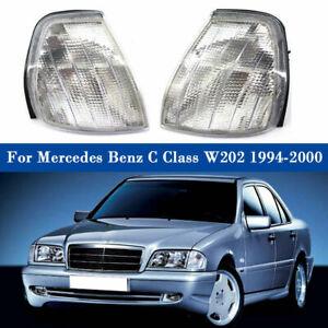 Clear Corner Turn Signal Lights Lamp Pair Fit Mercedes Benz C Class W202 94-2000