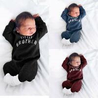 Newborn Infant Baby Kids Boy Girl Button Letter Romper Jumpsuit Playsuit Clothes