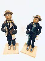 Set Of 2 Vintage Handmade Dried Fruit & Nuts Prune Man Doll Figurines Folk Art