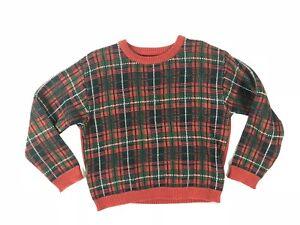 TFW Boys Red Plaid Sweater Solid Back Medium 5-6 Christmas Holiday Vtg