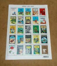 Planche de 25 timbres Belges - TINTIN 100 ans de Hergé 1907/2007 - Georges Rémi