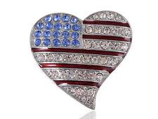 Crystal Rhinestone America USA Flag Fashion Costume Jewelry Pin Brooch (HEART)