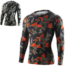 Camo Men Sports Compression Tights Thermal Base Layer Long Sleeve Top T-Shirts