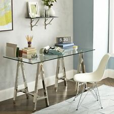 Etonnant Venus Stainless Steel Rectangular Dining Writing Table With Glass Top