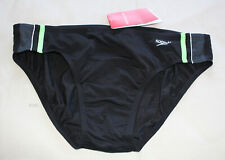 Speedo Endurance Mens Macca Black Green Brief Bathers 95cm Size 20