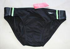 Speedo Endurance Mens Macca Black Green Brief Bathers 95cm Size 20