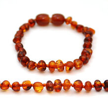BALTIC AMBER BRACELET / ANKLET, MEDIUM COGNAC POLISHED BEADS, SCREW CLASP, 14 CM