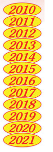 Car Dealer Windshield Oval Model Year Stickers 4 Digit Red and Yellow 10-21