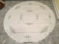 "New in Package! FANCO DAMASK 72"" ROUND TABLECLOTH Blue & Yellow Floral"