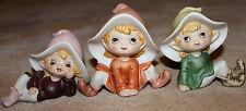 3 Pixie Elf Elves Gnome Vintage Porcelain Figurines Home Interiors HOMCO #5213