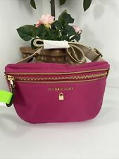 New Michael Kors Fanny Pack Hot Pink Nylon Adjustable Waist Belt Bag  B2U