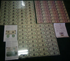 UNCUT SHEETS - SET 3 OF $1 x32 $2 x32 $5 x32 Real Currency Note/Rare Money GIFT