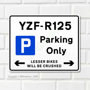 YZF R-125 10x8 Metal Garage Parking Sign for Yamaha YZFR-125 Motorcycles