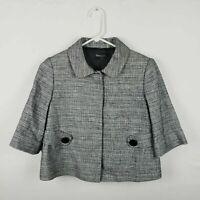 Tahari Size 4 Women's Blazer Jacket Black White 3/4 Sleeves Snap Buttons ELEGANT