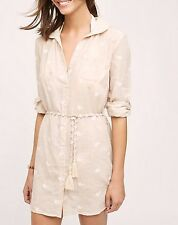 148139 New Mermaid Anthropologie Shoreward Beach Embroidered Shirt Dress M