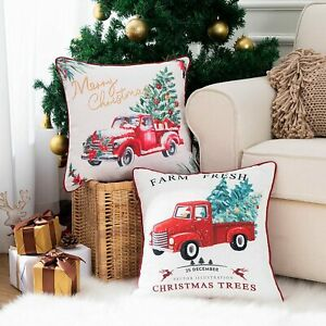 Christmas Decorative Throw Pillow Cover Holiday Decorations Truck Christmas