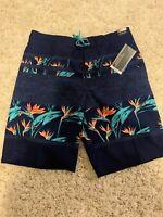 Roundtree & Yorke Caribbean Navy Blue Floral Stripe Men's Swimwear NWT $49.50 M