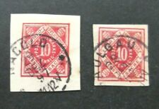 Germany-1897-2 Ten pf Postal Cut Outs