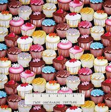 Food Fabric - Dessert Cupcake Packed Black - Timeless Treasures YARD