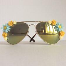 Summer - PinksAndMinks Reflective Embellished Sunglasses Blue Amber Flowers
