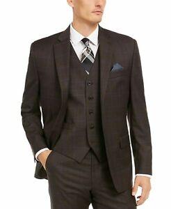 Lauren Ralph Lauren Brown Windowpane Suit Jacket & Vest Mens 36R 36 $450