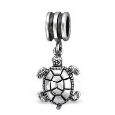 Sterling Silver Hanging TURTLE Tortoise Bead For European Charm Bracelet Boxed