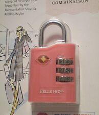 "NEW ""BELLE HOP"" TSA TRAVEL LOCK - 3 DIAL COMBO  LIGHT PINK 4 BREAST CANC. - 7212"