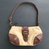 Xcessori Brown Faux Suede & Leather Baguette Purse Shoulder Bag Cowgirl Western