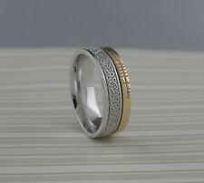 10K Faith Rail Edge Boru Size 10.5 Sterling Silver Trinity Knot Wedding Ring w