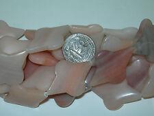 16 Inch Strand of Peach JaspAgate Altered Diamond Shape Beads Long drilled