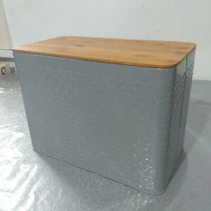 Grey Embossed Enamel Bread Bin Storage Tin Bread loaf Cork Bin Bamboo lid new