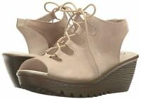 Skechers Suede Lace-Up Peep-Toe Wedges Natural, Size 8 M