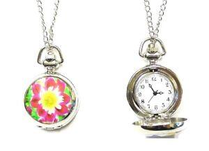 Ladies Steampunk Silver Flower Pocket Watch Necklace Pendant Gift Women Girls UK