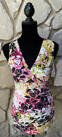 Cabi Top Shirt Size S Multicolor Stretch Knit Sleeveless Ruched Sides