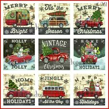 NEW! Vintage Christmas Home for the Holidays Red Truck 9 Prints on Fabric FB 261