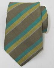 SALVATORE FERRAGAMO Green Yelloe Pure Linen Silk Stripe Men's Tie