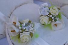 Wedding & Prom wrist flowers corsage , white/ green  , roses, crystal,