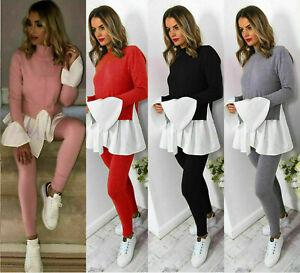 Ladies Women's Knitted Contrast Peekaboo Frill Sleeves Lounge wear Tracksuit Set