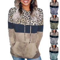 US Womens Leopard Hoodies Sweatshirt Casual Loose Hooded Tops Pullover Jumper