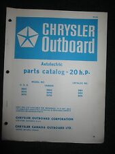 1966-1967 Chrysler Outboard 20 HP Parts Catalog Manual Autolectric 20641 20741 +