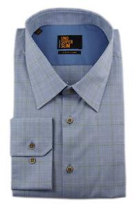 Seidensticker Hemd UNO SUPER SLIM Kent blau weiß grün Kariert Gr. 43 / 573656.13