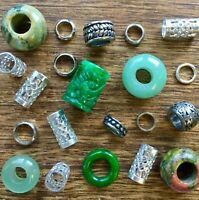 25 Dread Beads Gemstone Stainless Steel Pack 5/6mm Hole 3/16-1/4 Inch Dreadlock
