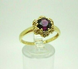 9ct Yellow Gold Hallmarked Amethyst Rose Detail Ring Size T Free UK Shipping