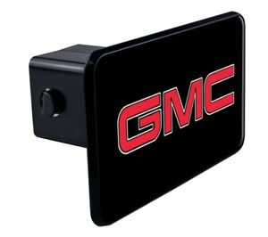 """GMC Black Red Logo Tow Hitch Cover Plug w/pin for Car-Truck-SUV 2"""" Receiver"""